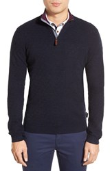 Men's Ted Baker London 'Harfitt' Quarter Zip Sweater Navy