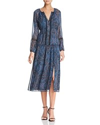 Ella Moss Embroidered Tapestry Print Midi Dress Navy