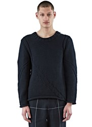 Aganovich Thick Knit Scoop Neck Sweater Black