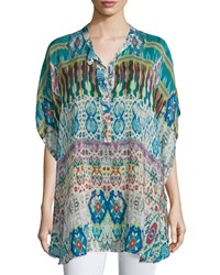 Johnny Was Perro Printed Dolman Sleeve Poncho Women's