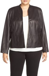 Halogenr Plus Size Women's Halogen Collarless Leather Jacket