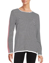 Calvin Klein Striped Crewneck Long Sleeve Sweater Black Rouge