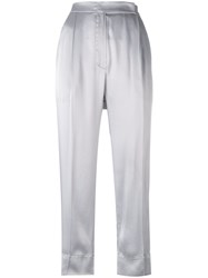 Brunello Cucinelli Contrast Stitching Cropped Trousers Grey