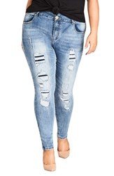 City Chic Plus Size Asha Patched Ankle Skinny Jeans Denim Mid
