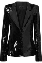 Brandon Maxwell Sequined Faille Blazer Black