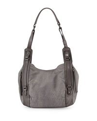 Kooba Aston Veined Leather Shoulder Bag Denim