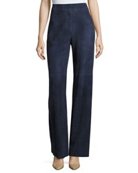 Theory Terena S Wilmore Suede High Rise Wide Leg Pants Blue