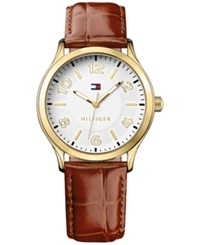 Tommy Hilfiger Women's Brown Croc Embossed Leather Strap Watch 38Mm 1781602