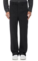 Christophe Lemaire Men's Wool Flat Front Trousers Dark Grey