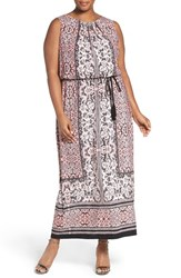 London Times Plus Size Women's Lace Print Belted Maxi Dress Blush