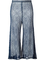 Peter Pilotto Lace Cropped Trousers Blue