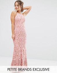 Jarlo Petite Allover Lace High Neck Maxi Dress Pink