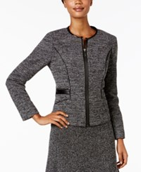 Kasper Stretch Tweed Zip Front Jacket Black White