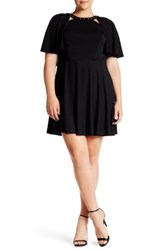 Abs By Allen Schwartz Studded Neck Knit Cape Dress Plus Size Black