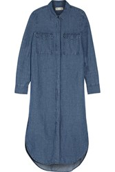 Madewell Cotton And Linen Blend Chambray Shirt Dress Mid Denim