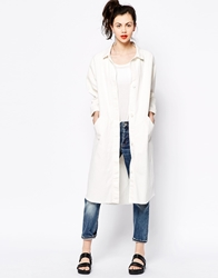 Monki Longline Denim Coat White