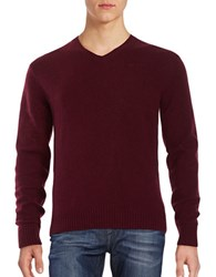 Black Brown V Neck Sweater Dark Burgandy