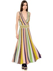 Missoni Striped Plisse Lame Knit Dress