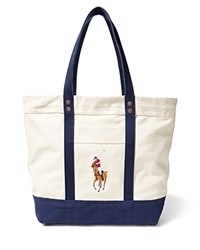 Polo Ralph Lauren Big Pony Multicolor Tote Bag Natural Navy