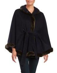 Ellen Tracy Faux Fur Trimmed Cape Navy Blue