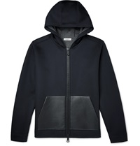 Valentino Leather Trimmed Neoprene Hoodie Blue
