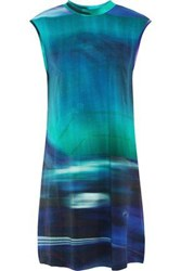 Y 3 Adidas Printed Stretch Cotton Jersey Mini Dress Turquoise