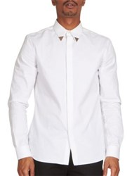 Givenchy Metal Tipped Contemporary Fit Button Down Shirt White