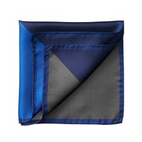 Aspinal Of London Block Colour Pocket Square Black And Cobalt