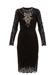 Dolce And Gabbana Crystal Embellished Guipure Lace Dress Black