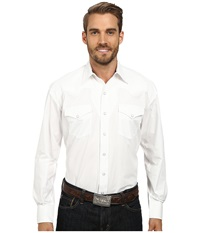 Stetson Solid Poplin Triple Needle Classic White Men's Clothing