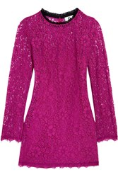 Topshop Unique Tybalt Corded Lace Mini Dress Bright Pink