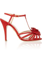 Charlotte Olympia Rosa Rose Appliqued Leather Sandals Red