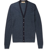 Burberry London Slim Fit Silk And Cotton Blend Cardigan Blue