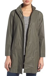 Eileen Fisher Women's Waxed Cotton Stand Collar A Line Jacket