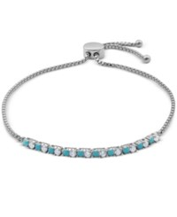 Giani Bernini Cubic Zirconia And Turquoise Look Adjustable Slider Bracelet In Sterling Silver Only At Macy's