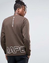 Aape By A Bathing Ape Long Sleeve T Shirt With Camo Logo Black