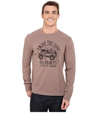 Life Is Good Go Places Crusher Long Sleeve Tee Matte Brown Men's Long Sleeve Pullover