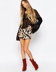 Daisy Street Shorts With Pom Pom Hem In Floral Print Black Multi