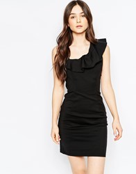 Vila Pencil Dress With Ruffle Detail Black