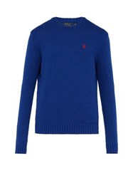 Polo Ralph Lauren Logo Embroidered Knit Cotton Sweater Blue