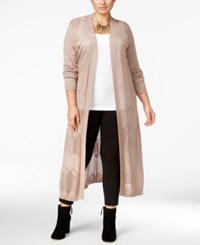 Belldini Plus Size Pointelle Stitch Long Duster Cardigan Heather Mocha
