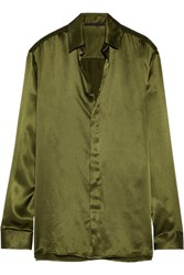 Haider Ackermann Silk Satin Shirt Army Green
