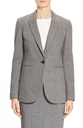 Pink Tartan 'Fleet' Herringbone One Button Jacket Black Cream