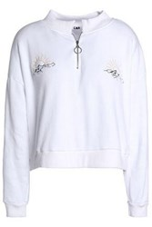 Lna Embroidered Cotton Fleece Sweatshirt White