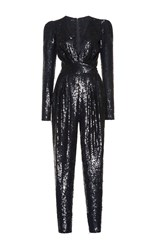 Zuhair Murad Plunging Sequin Jumpsuit Black