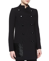 Michael Kors Double Breasted Leather Pocket Coat