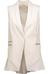 Brunello Cucinelli Bead Embellished Stretch Wool Twill Vest Ecru