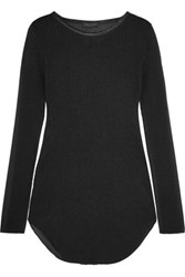 Rag And Bone Marisol Silk Trimmed Ribbed Knit Voile Top Black