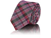 Alexander Olch Plaid Wool Necktie Purple