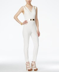 Material Girl Juniors' Sleeveless Belted Jumpsuit Only At Macy's White